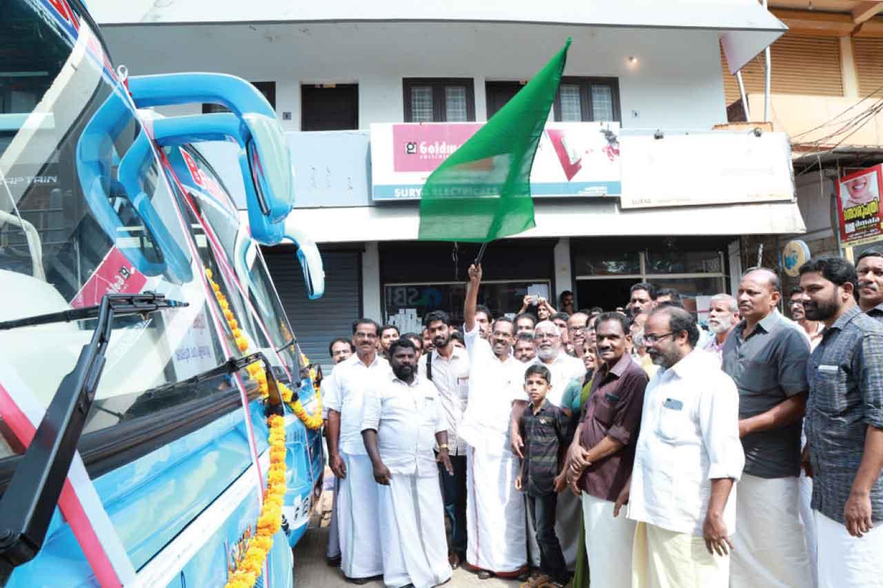 Buses under the Chakkitpara Bank Flags, minister TP Ramakrishnan